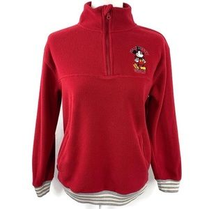 Disney Parks Mickey Mouse Red Embroidered Fleece